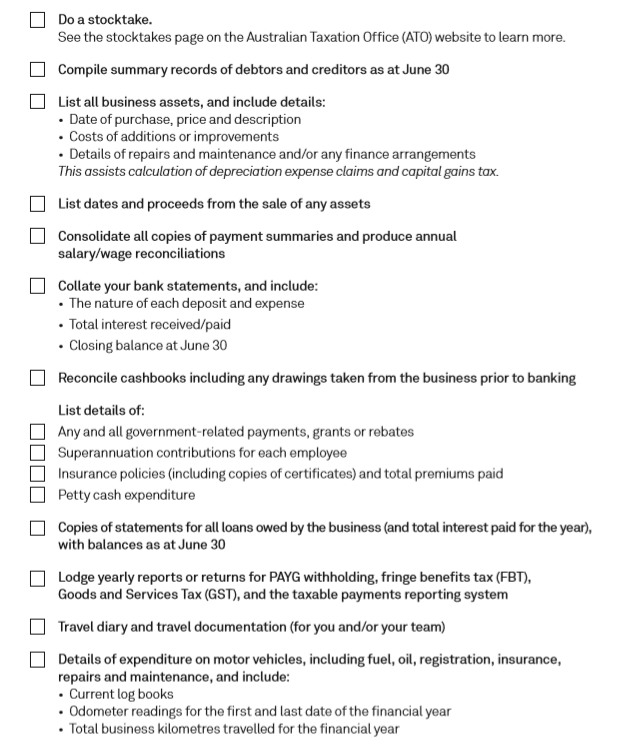 Checklist for End Of Financial Year